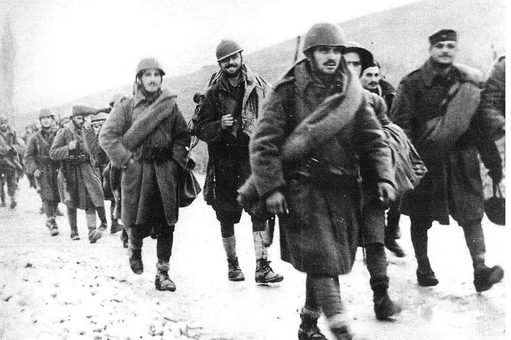 Greek soldiers marching towards the Albanian front during the Greco-Italian War.
