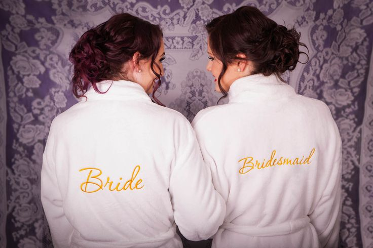 Luxurious micro plush robes.  Matching embroidered bridal party robes! Get ready in cosiness and style!