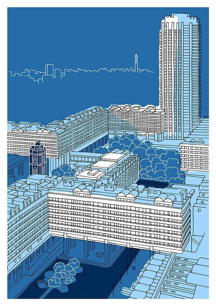 Steel Blue Barbican - Limited Edition Print - East End Prints