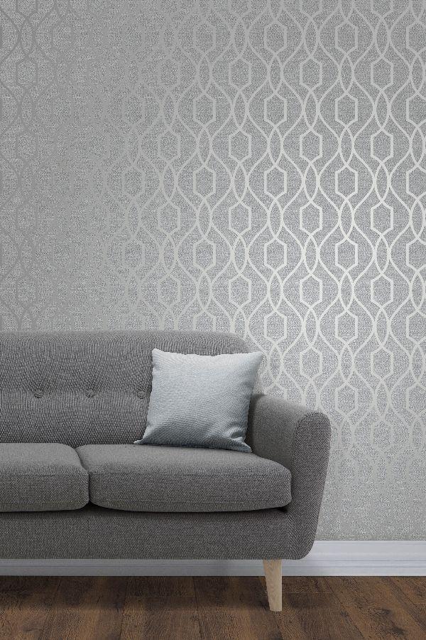 Grey Wallpaper Living Room