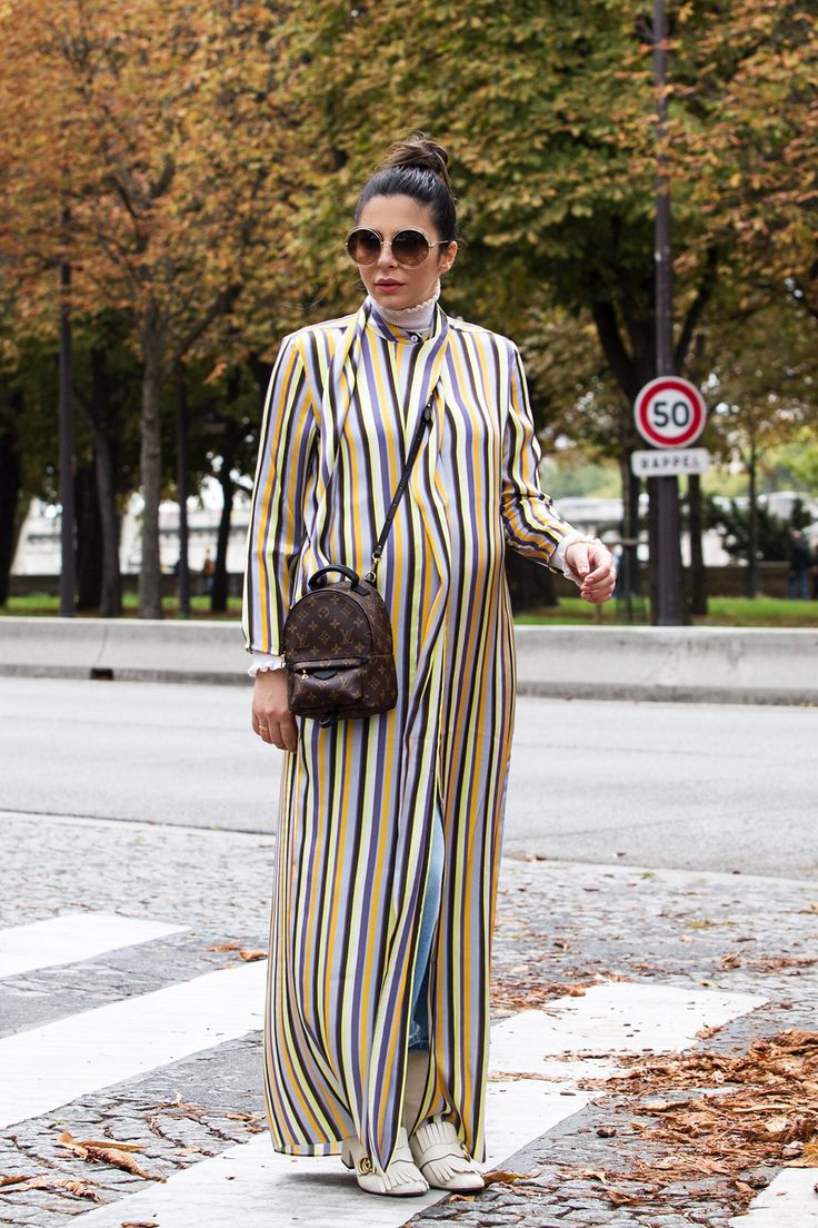 Gucci  Marmot Boots & Louis Vuitton Palm Springs Mini Backpack worn with Acne striped Dress & Jeans by Stella Asteria - Fashion & Lifestyle Blogger during #PFW SS'18 - Paris Streetstyle - Pregnancy Style