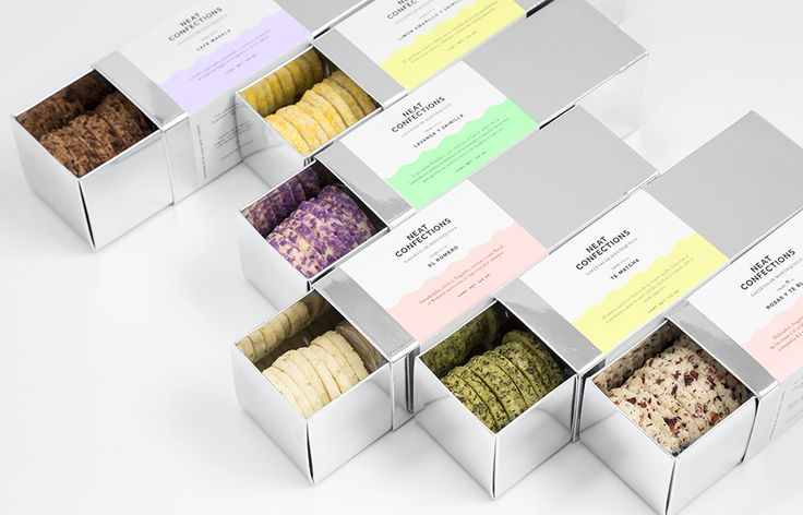 Mirrored card packaging designed by Anagrama for Mexican brand Neat Confections.