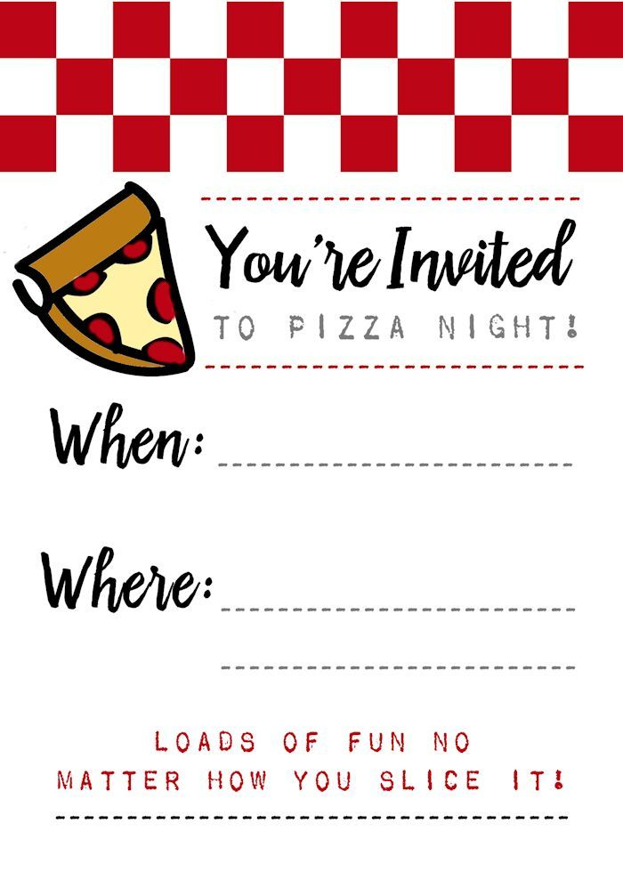 free pizza night invitations to download and use free