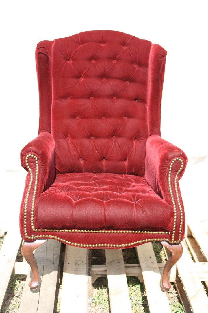 Red Upholstered Wing Back Chair Gothic Drama Pinterest