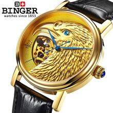 Genuine Swiss BINGER Brand Mens self-wind automatic mechanical watches fashion gold eagle male leather strap table(China (Mainland))