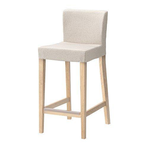 HENRIKSDAL Bar stool with backrest, birch, Linneryd natural Linneryd natural birch 74 cm