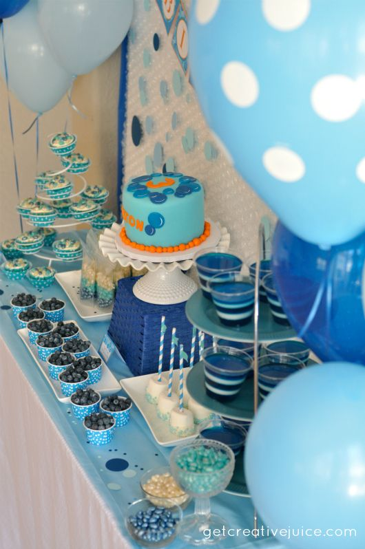 Bubble birthday party decorations and dessert table