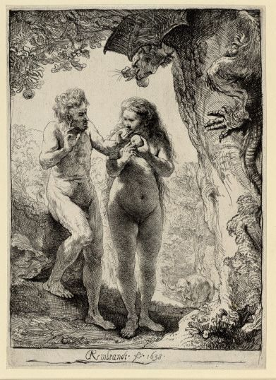 "Rembrandt. ""Adam and Eve""...love how Eve looks substantial and not like she's suffering from malnutrition!"