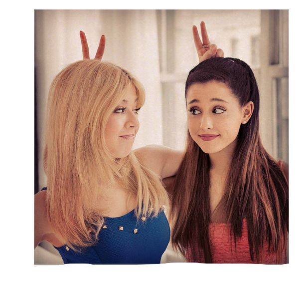 Super cute pic! Ariana Grande as Cat Valentine and Jeanette Mcurdy as Sam Pucket on the nickelodeon tv show Sam and Cat :)