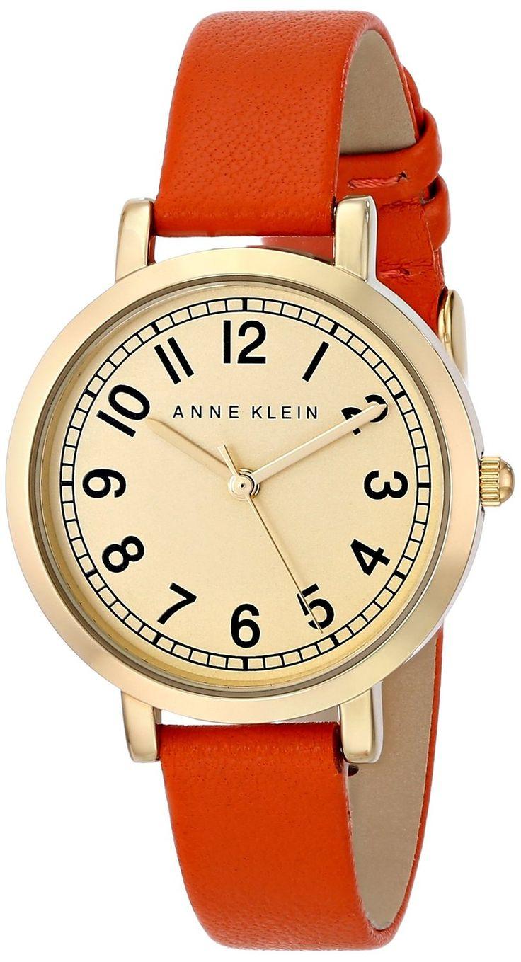 Women's watches | Gold watches best price Anne Klein Women's AK/1662CHOR Gold-Tone Easy-to-Read Dial Orange Leather Strap Watch