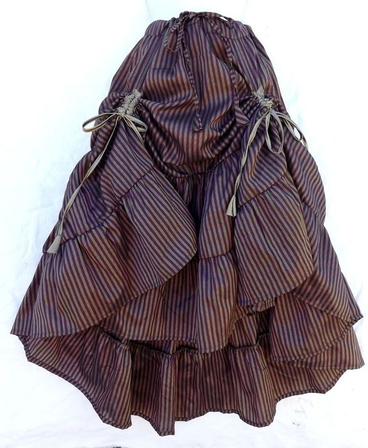 Steampunk Victorian Renaissance Pirate Costume Purple Brnz Striped Gatherd Skirt #Kashi #Skirt