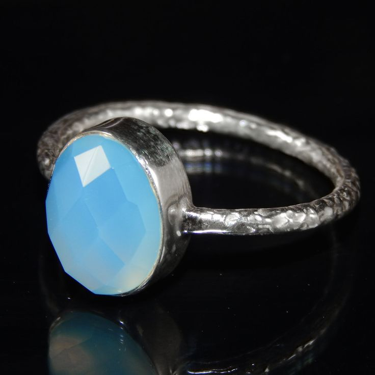 925 Sterling Silver Jewelry Blue Chalcedony Handmade Hammered Designer Ring