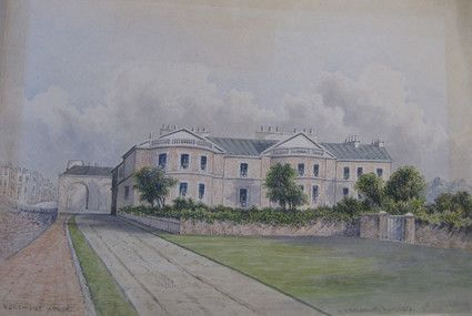 Egremont House by William Alfred Delamotte. Watercolour, 1853. Shows double bow fronted brick house, also known as East Lodge. Stood in what is now Egremont Place in Brighton.