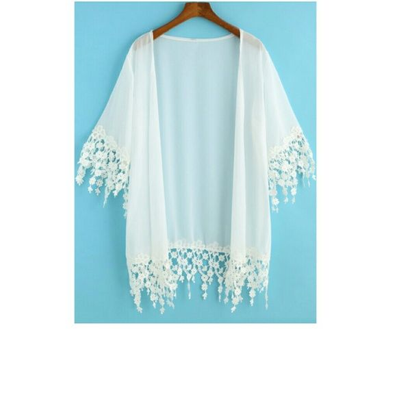 1 day saleJust in white lace kimono. Beautiful white lace kimono with wonderful details. Price is firm unless bundled. Tops