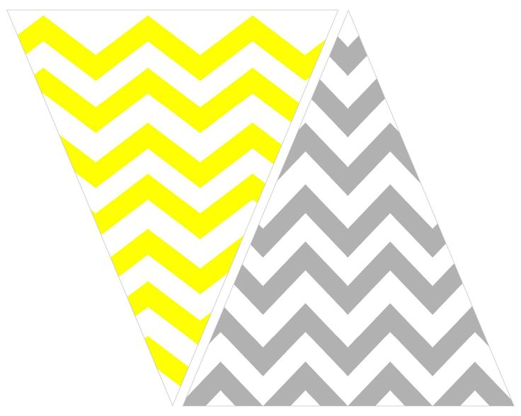 printable: grey and yellow chevron bunting