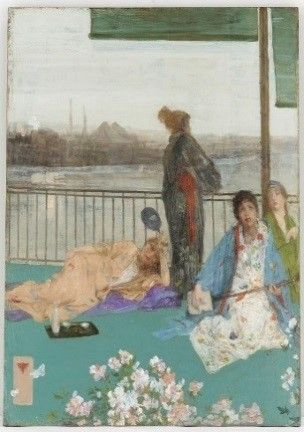 "1892: Freer purchases ""Variations in Flesh Colour and Green: The Balcony,"" his first oil painting by Whistler. This work represents the artist's early experiments with applying conventions derived from Japanese prints to depictions of contemporary London.  Variations in Flesh Colour and Green: The Balcony; James McNeill Whistler (1834–1903); United States, 1864–70, additions 1870–79; oil on wood panel; Gift of Charles Lang Freer; F1892.23a–b"