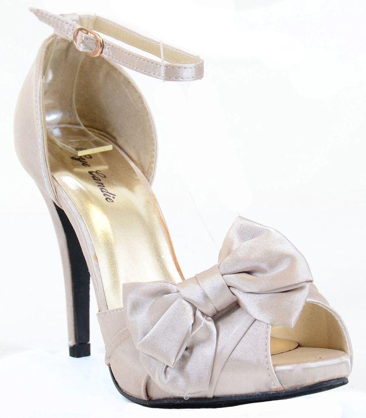 Satin Ribbon Bow Peep Toe Stiletto Heel Sandal Pump