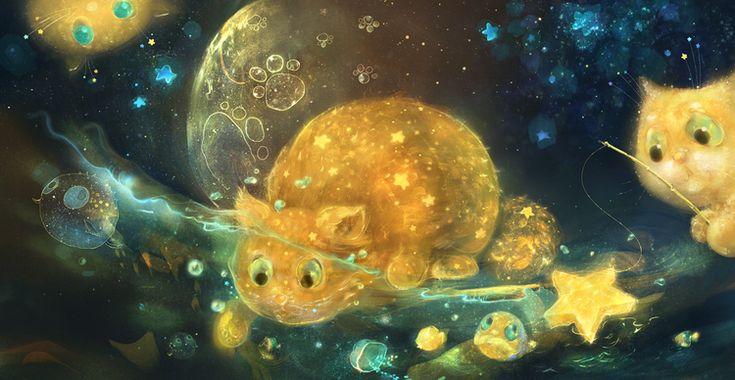 Сообщество иллюстраторов / Иллюстрации / smokepaint (Яковлева Полина) / лунные кошки