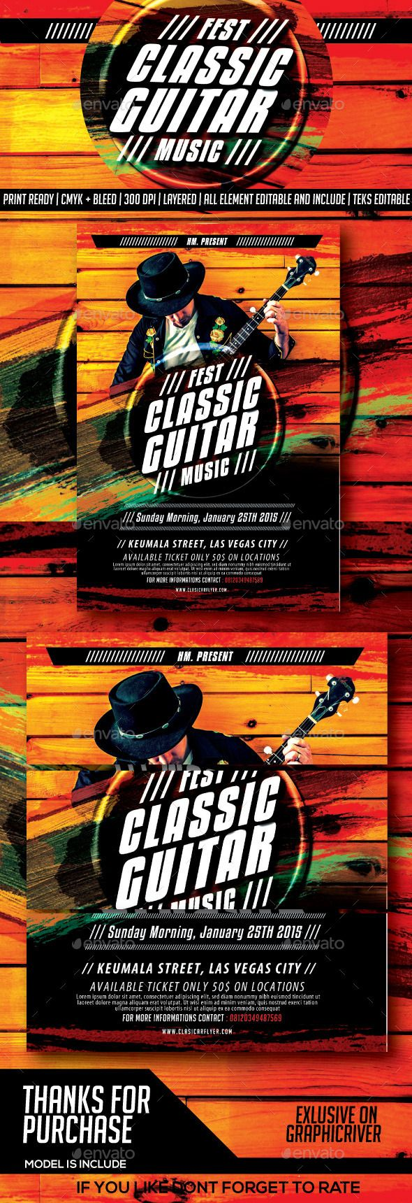 Classical Guitar Festival Music Flyer