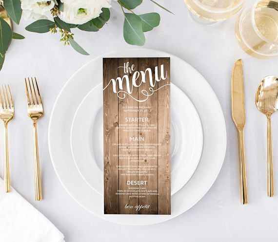 Wooden wedding menu card, printable template. Rustic wedding menu card template. Editable PDF templates. Instant Download. Two sizes included. Check my other menu card templates: https://www.etsy.com/shop/VisualisingDreams?ref=seller-platform-mcnav&section_id=23233307 #weddingmenu