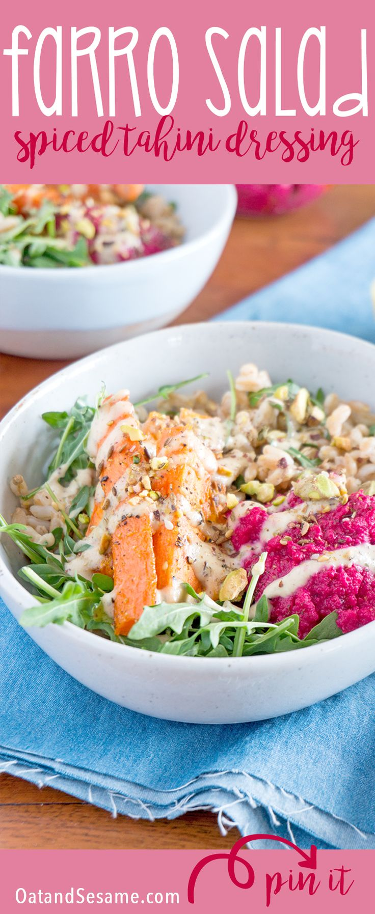 I created this farro salad with roasted carrots, baby arugula, beet hummus and dukkah for meal prep this week. It sounds like a lot of parts, but you can easily make everything in 45 min. I give you several ways to cut down the time in the post. It's packed with flavor and more importantly it's packed with nutrition. | MEAL PREP | PLANT BASED | VEGETARIAN | VEGAN | FOOD IN BOWLS | recipe at OatandSesame.com