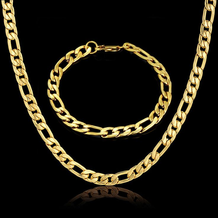 Stainless Steel Jewelry Set 7MM Male Gold Color Men Costume Cuban Chain Necklace Bracelet Jewelery Women Sets , Mens Gift Set