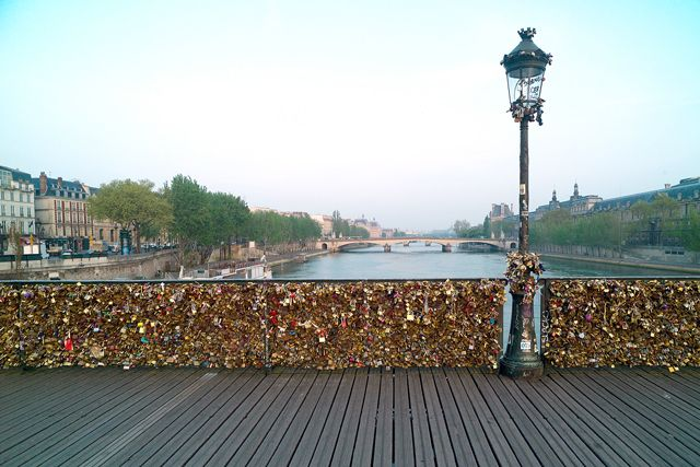 Pont des Arts footbridge over the Seine in Paris, France.