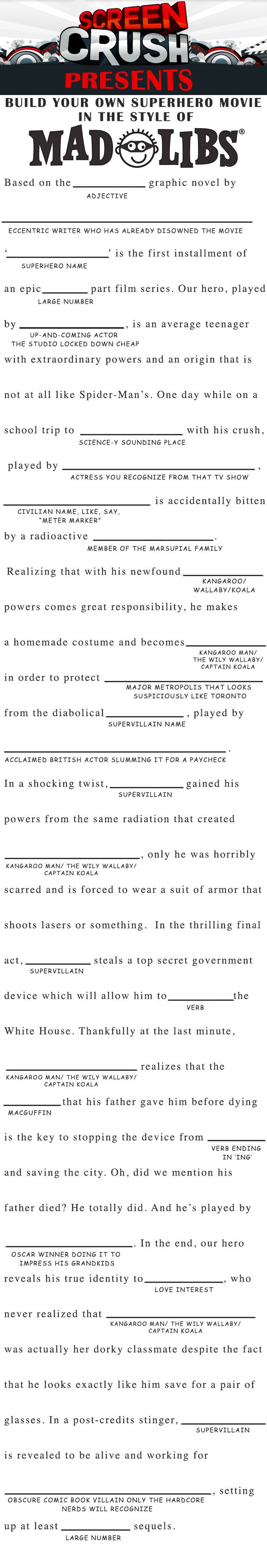 Make Your Own Superhero Movie, Mad Libs-Style