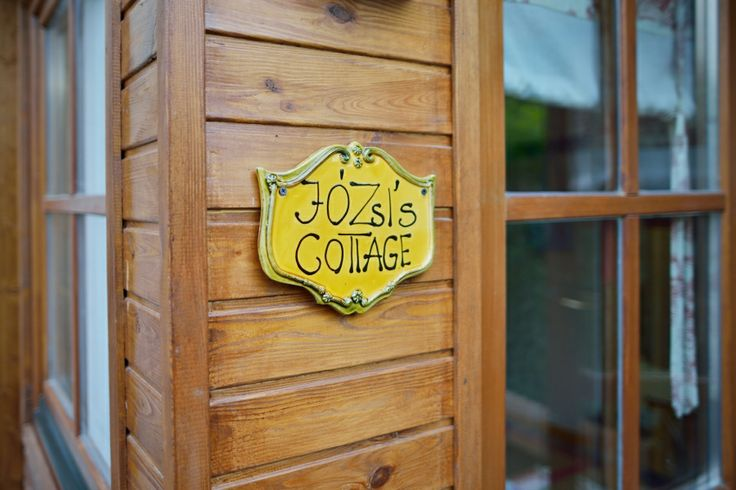 Józsi's Cottage at Catherine's Vineyard Cottages in Csákberény, Hungary, clay signage made by local craftsmen.