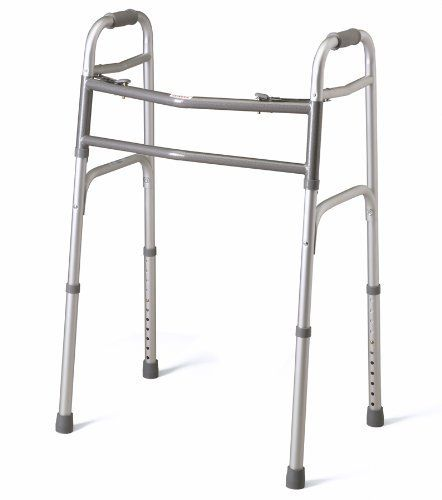 Bariatric Extra - Wide Two Button Folding Walker by Medline. Save 65 Off!. $60.91. Mobility Aids. ambulatoryaids. MDS86410XW Features: -Bariatric Extra Wide Two Button Folding Walker.-Sturdy 1'' aluminum tubing folds to a slim 4.5'' for easy transportation and storage.-Contoured textured, PVC handgrips provide additional patient comfort.-Optional accessories: Walker Basket.-Height adjusts from 30'' to 43.5'' in one-inch increments.-Width inside hand grips: 20 1/2''.-Width inside base legs…