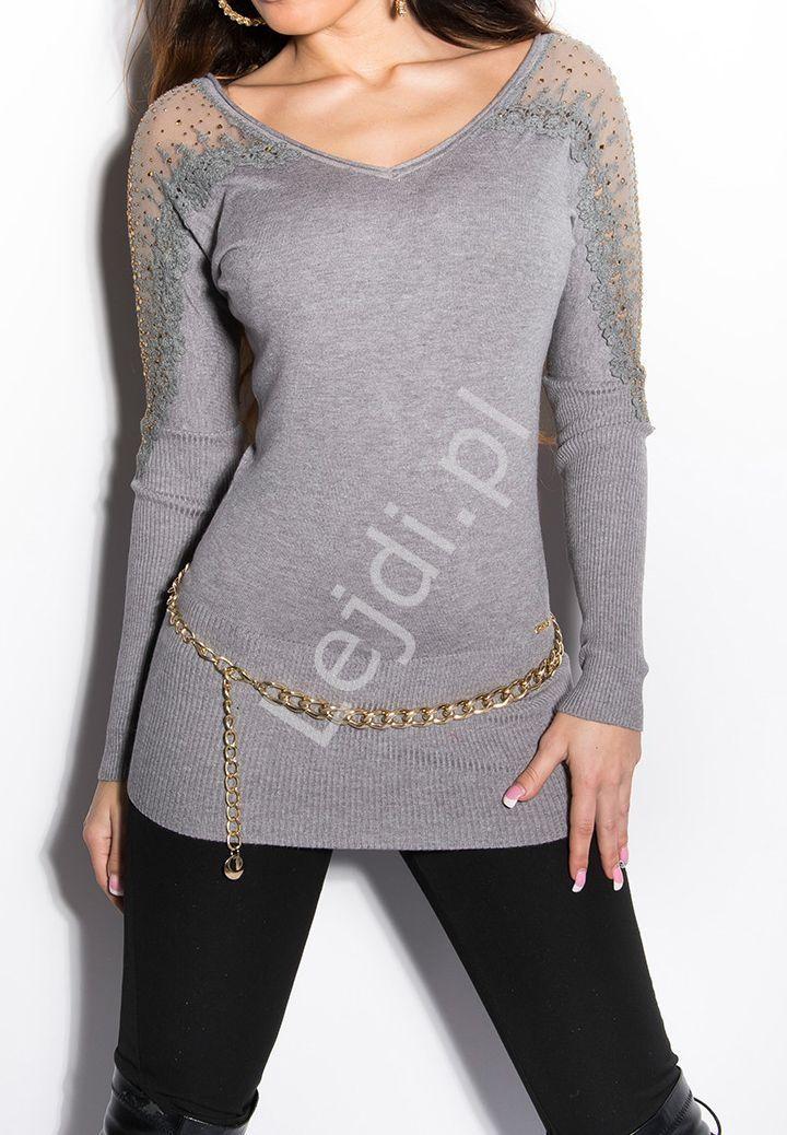 f639f19c2927 Sweter damski z gipiurową koronką oraz cyrkoniami