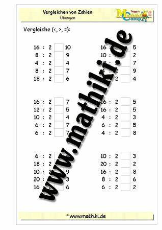 Vergleichen der Zahlen mit Division (1x2) - ©2011-2016, www.mathiki.de - Ihre Matheseite im Internet #math #division #arbeitsblatt #worksheet