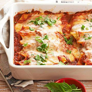 Cheesy Pesto-Meatball Manicotti Fill pasta shells with creamy cheeses ...