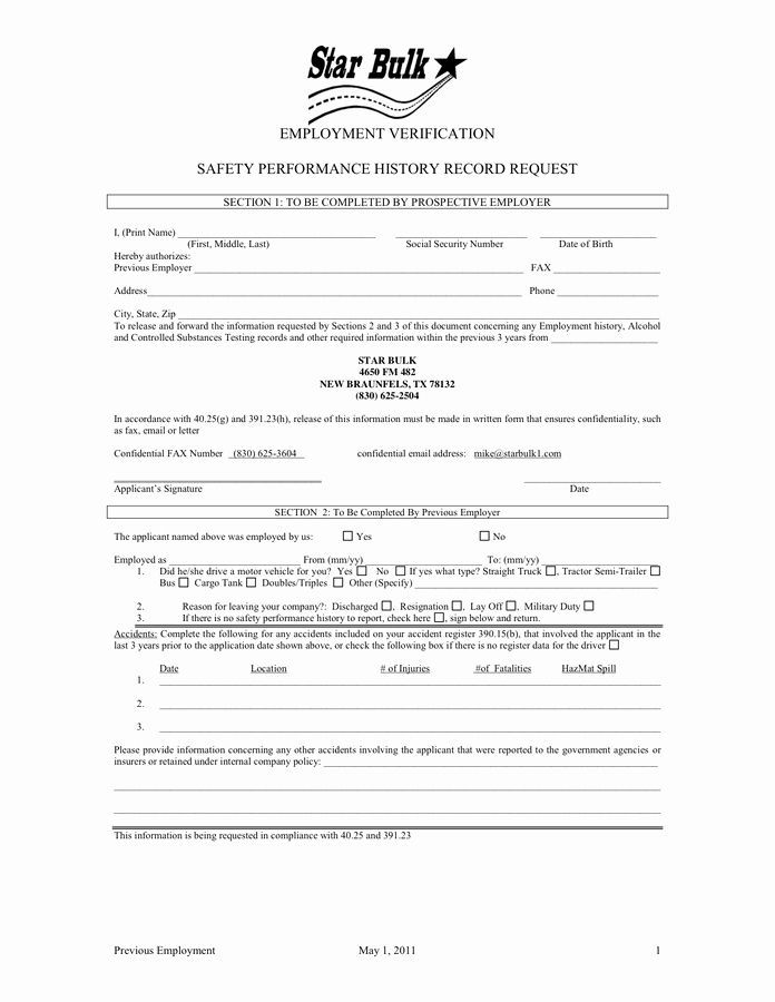 Previous Employment Verification Form Template Awesome 25 Of Dot Driver Employment Application Template Jobs For Teachers Templates In Words