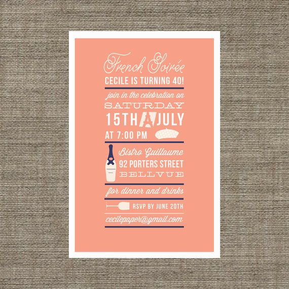 Adult Birthday Party Invitation For French Soiree / Dinner