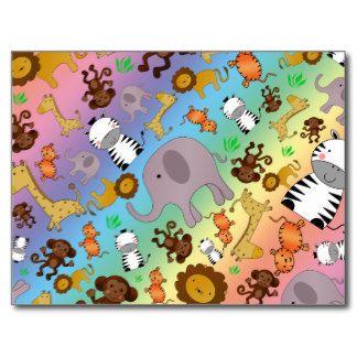 Animais do safari de selva do arco-íris cartão postal