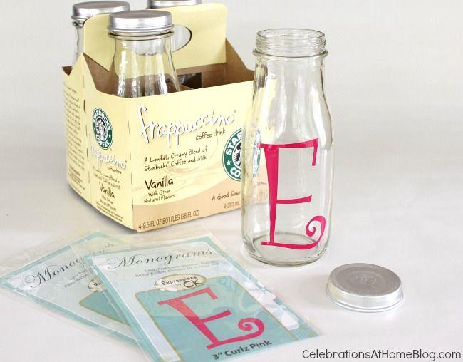 monogram bottles #diy using upcycled starbucks coffee drink bottles
