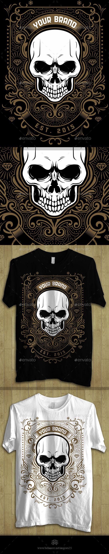 Shirt design illustrator template - Skull Ornament Theme Tshirt Design