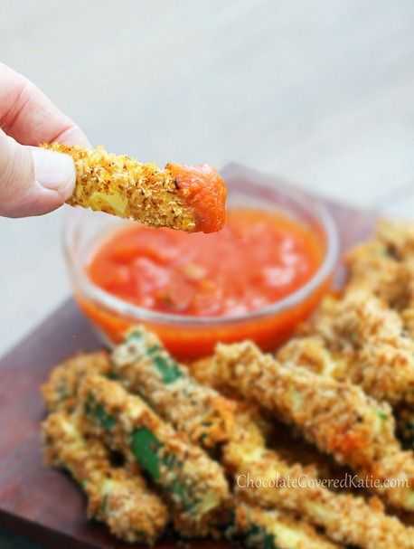 Healthy Crispy Baked Zucchini Fries: http://chocolatecoveredkatie.com/2013/05/28/crispy-healthy-baked-zucchini-fries/