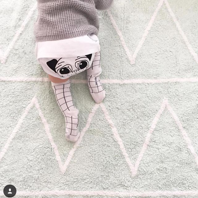 The cutest little baby bum on our Hippy Mint Rug. Safe, non-toxic, machine-washable rugs for every room in your home. Shop lorenacanals.com