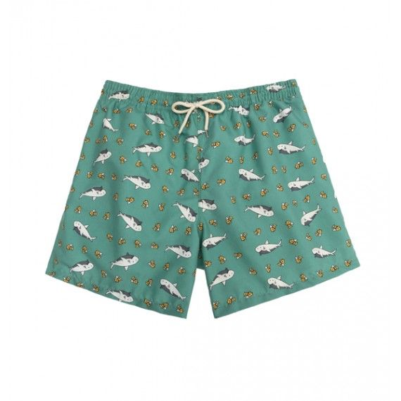 green sharks swim short / bañador tiburones color verde