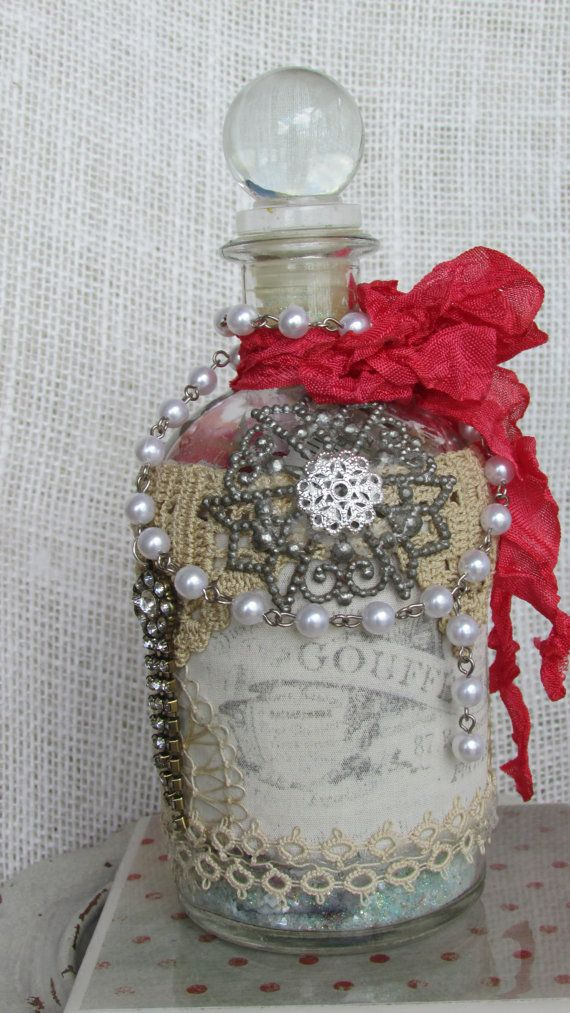 Decorated Decorative Bottle Altered Embellished Vintage Lace Jewelry Components, Muslin French Label, Faux Pearl Chain Crinkled Dyed Ribbon