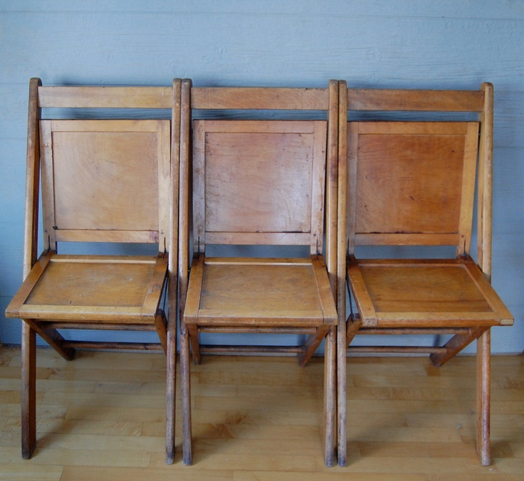 Funky Foyer Furniture : Antique rustic wood wooden folding church school chair