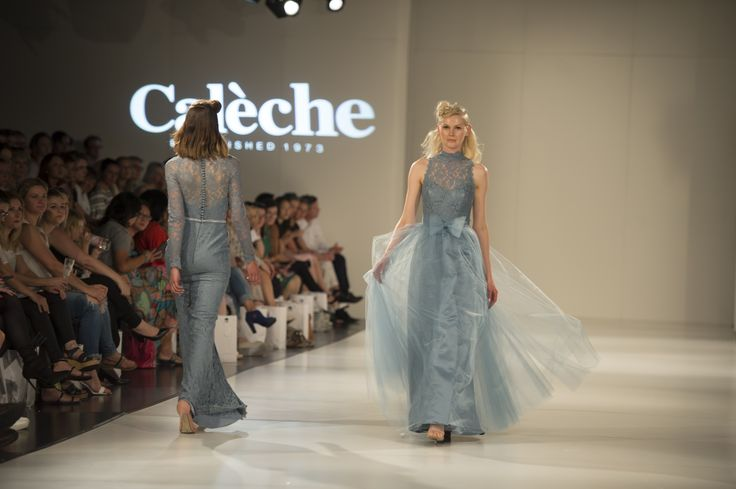The Calèche Runway at Adelaide Fashion Festival. A duck egg blue evening gown.