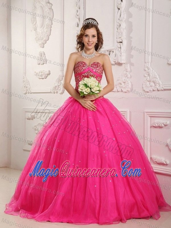 Ciudad Juarez Mexico Beaded Hot Pink Quinceanera Gowns Sweetheart