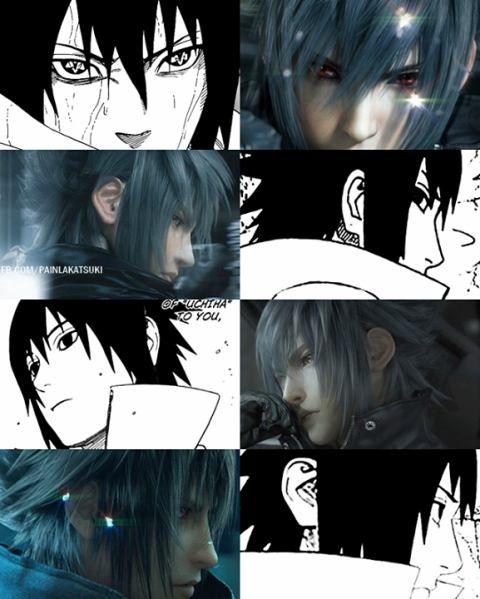 sasuke as noctis from final fantasy 15 and naruto