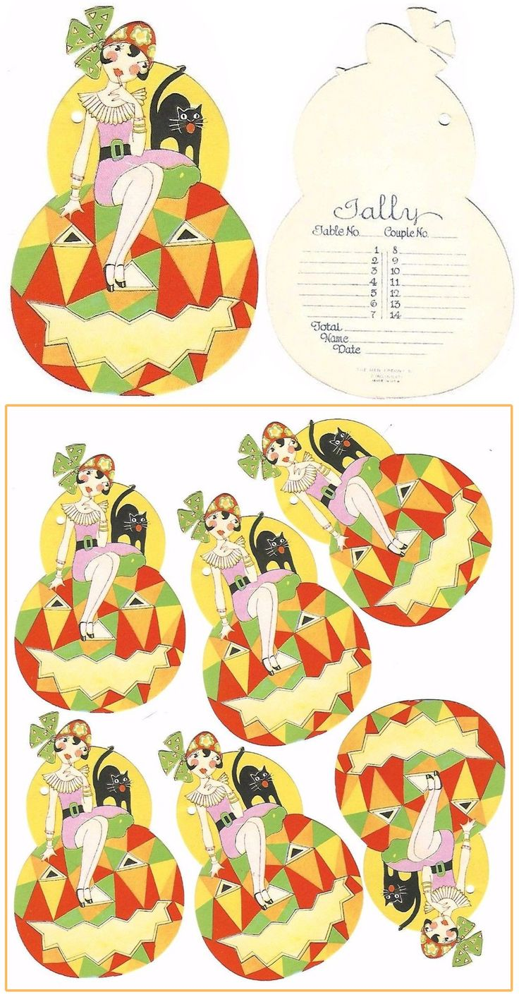 6 Witch Black Cat on Art Deco Pumpkin Tally Card Stock ($144 @ ~$25 each) 2017 #vintage #Halloween #collectibles