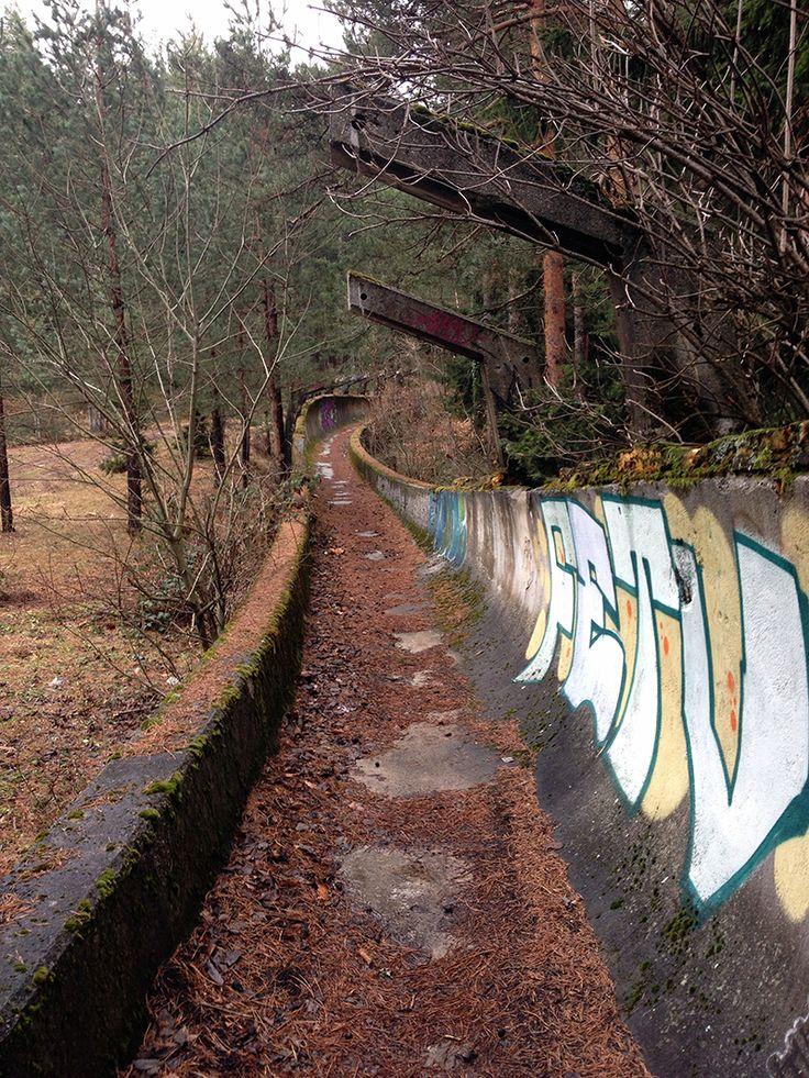 Abandoned bobsliegh track, from the 1984 Sarajevo Winter Olympics. Bosnia..