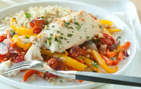 Roasted Fish and Veggies: Seafood Recipes, Meals, Whole Food Marketing, Whole Food Recipes, Pine Nut, Roasted Fish, Healthy Food, Roasted Veggies, Parchment Paper