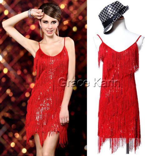 Vintage-Flapper-Girl-Sequin-Fringed-Costume-Cocktail-Party-Dance-Tassels-Dress